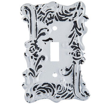 Distressed White Fancy Single Metal Switch Plate